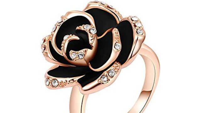 Winter.Z Noble and Elegant Ladies Jewelry Popular Explosion Models Austria Crystal Rose Gold Black Rose Ring Wedding