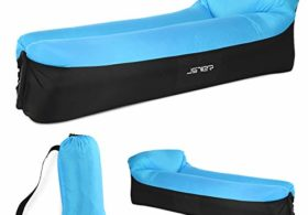JSVER Inflatable Lounger Air Sofa with Portable Package for Beach and Pool Parties, Travelling, Hiking, Camping, Park, Blueblack
