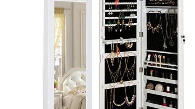 HollyHOME Mirrored Jewelry Cabinet Lockable Wall Door Mounted