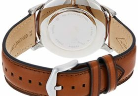 Fossil Men's Minimalist Quartz Leather Casual Watch Watch, Color: Silver/Blue, Brown (Model: FS5304)