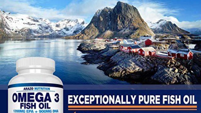 Omega 3 Fish Oil 4,080mg – High EPA 1200mg + DHA 900mg Triple Strength Burpless Capsules – Arazo Nutrition (120 Count)