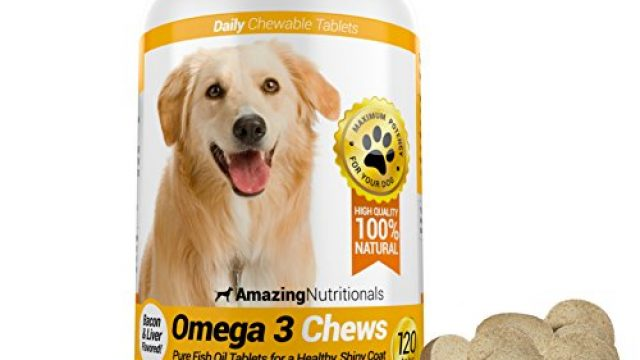 Amazing Omega-3 Rich Fish Oil 100% Pure All-Natural – Unscented Premium Food Grade Pet Nutritional Supplements – Antioxidant Fatty Acids – Promotes Shiny Coat, Bone, Joint and Brain Health – 120 Tasty Chewable Tablets Your Dog Will Love