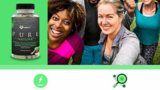 KaraMD Pure Nature | Dr Formulated Greens, Fruit & Vegetable Whole Food Health Supplement | Vitamins, Fiber & Antioxidant Superfood Nutrition | Natural Energy, Digestion & Immunity Boost, 120 Capsules