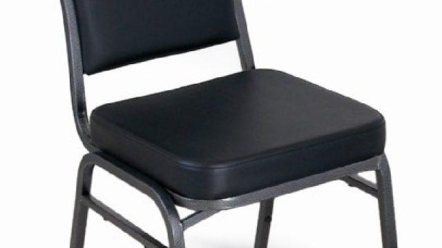McCourt 10388 Superb Seating Stack Chair – Black Vinyl on Silvervein Frame