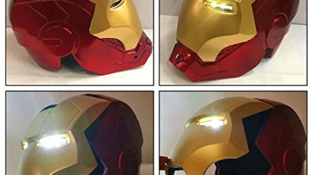 Iron Man Helmet Electronic Iron Man Full Head Helmet LED Light Up Iron Man mask With Halloween Cosplay for Kids.