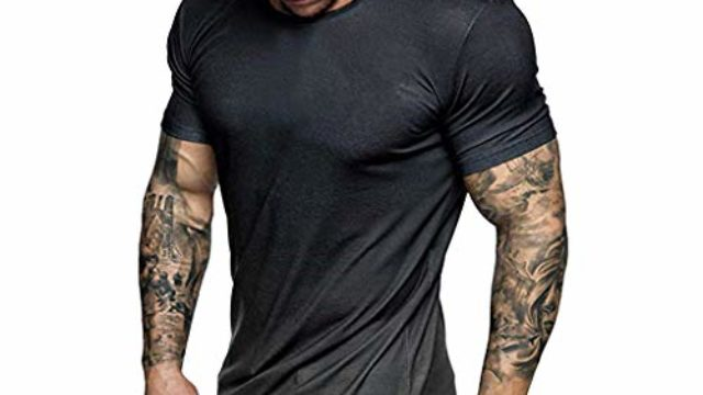 Men's Short Sleeve Tops Summer Crewneck Casual Slim-Fit Tee Gradient Color Shirts Blouse (L, Black)